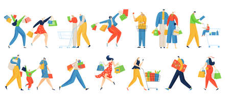 Shopping people vector illustration set, cartoon flat shopper family characters buying in grocery shop, walking with purchase gift Vektorgrafik