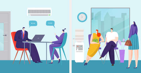 Job interview in office concept, vector illustration. Hiring to work, business employee recruitment for career. People candidat character Vecteurs