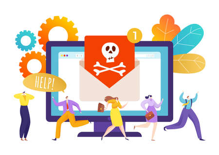 Computer internet security virus, data protection technology from hacker vector illustration. Spam attack to people online, hacking webmail concept.