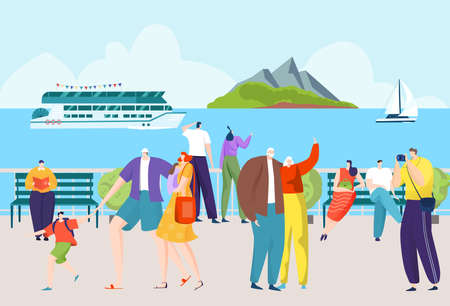 Cartoon character at seaside vacation, walking tourist at summer sea holiday vector illustration. People at outdoor scenery landscape