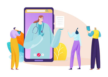 Doctor in smartphone, online medical consultation for people, vector illustration. Clinic communication and care concept  イラスト・ベクター素材