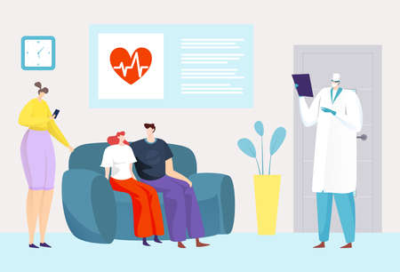 Hospital clinic medical service, vector illustration. Doctor nurse flat medicine worker care about cartoon man woman patient health in room.