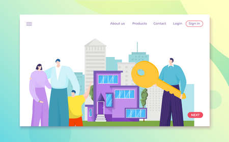 House realtor agent and property owner stand near home, rent service vector illustration. Man character hold huge key for new real estate purchase.