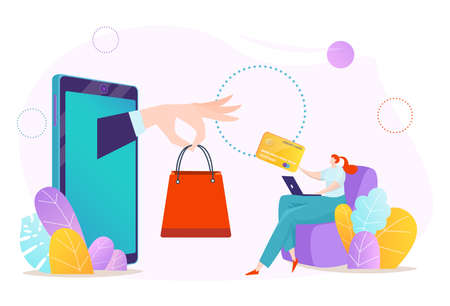 Online smartphone payment, buy in phone mobile store technology vector illustration. Customer character get flat package