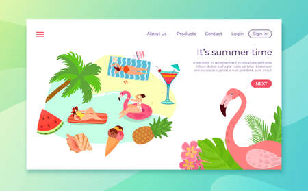 Summer time at cartoon beach, vector illustration. Woman character at flat sea, landing page. Ocean seaside vacation for girl banner