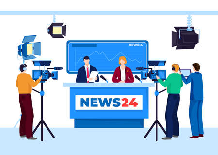 Tv news studio with television person, vector illustration. Man woman people work at cartoon broadcast media, video broadcasting.