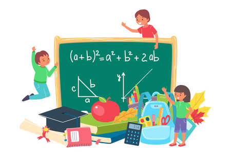 Education school with blackboard, vector illustration. Student child study in classroom, cartoon happy kid in class background.