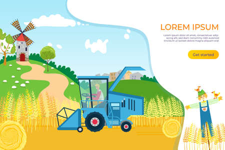 Agriculture farmer at farm field design, vector illustration. Combine pick nature wheat, cartoon work at tractor background.  イラスト・ベクター素材