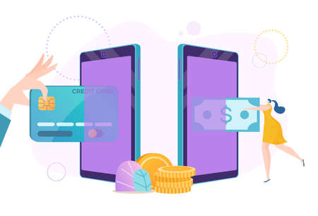 Smartphone online money, card payment by phone banking technology vector illustration. Digital mobile transaction for pay internet purchase.