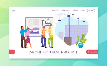 Building project, engineer worker at construction, vector illustration. Architecture business engineering work, professional architect industry.