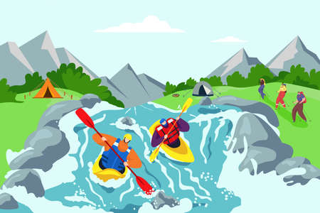 River adventure and kayaking travel background, vector illustration. Vacation lifestyle at mountain nature, outdoor hill sport activity.