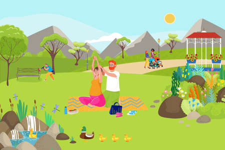 Woman yoga activity with family, vector illustration. Pregnant female character with man at cartoon park, flat people sport lifestyle.