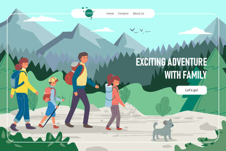 Exciting adventure family hiking landing vector illustration. Happy people at vacation travel, summer nature with backpacks.  イラスト・ベクター素材