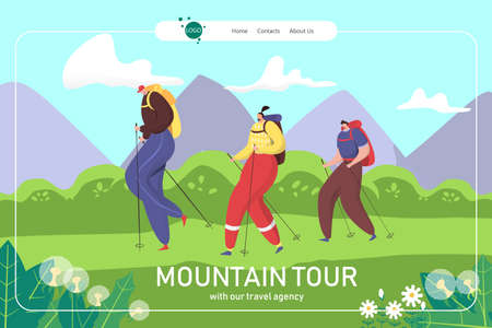 Mountain summer tour, family hiking landing vector illustration. Active tourism travel in nature. Happy trekking with backpack, lifestyle adventure.