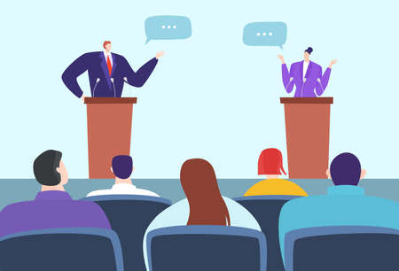 Political debate speakers on podium, candidates competition vector illustration. Leaders for tribune stage discuss arguments, argue in front audience.