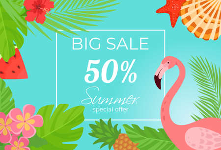Summer sale poster vector illustration. Season discount, special offer sunny background. Bright banner design decoration, tropical clearance  イラスト・ベクター素材