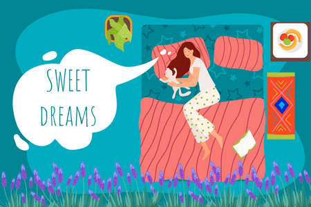 Sweet dreams, sleeping girl in bed vector illustration. Cute happy female in bedroom relaxing at night. Healthy lifestyle, peaceful rest