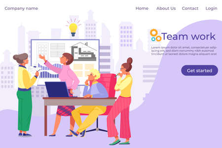 Team work people, professional working architects landing vector illustration. Cartoon characters job over building construction project.