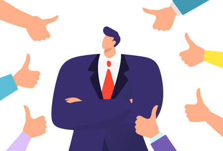 Thumbs up symbol successful business concept vector illustration. Adult man in suit surrounded by hands, confident gesture support.  イラスト・ベクター素材