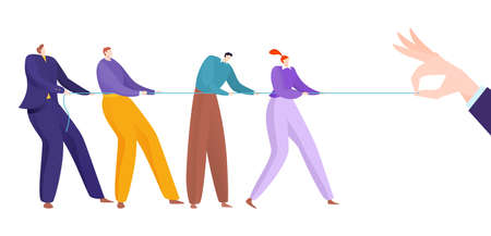 Tug war teamwork, hands pull rope concept vector illustration. Together corporate cooperation, power team in business.