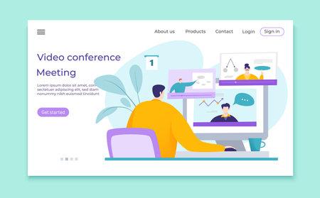 Video conference business meeting vector illustration. Cartoon people communication online, internet technology. Distance teaching webinar concept.