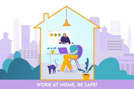 Work at home be safe online concept, vector illustration. artoon character sitting at computer. Social distancing protection