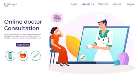 Online doctor consultation, woman with psychotherapist vector illustration. Professional medicine help for patient depression in internet technology.