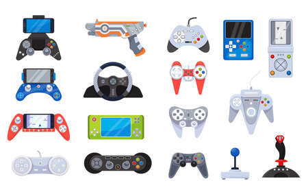 Video game joystick icons and gamers gadgets technology, controller set of vector illustrations. Electronic video gamepad.  イラスト・ベクター素材