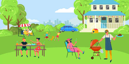 BBQ cooking, meat barbecue, outdoor, backyard people party, joyful family vacation, design cartoon style vector illustration.