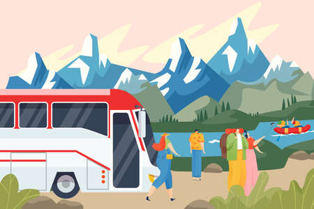 Bus stopped, tourists admire mountain landscape, road trip by transport, business tourism, cartoon style vector illustration.