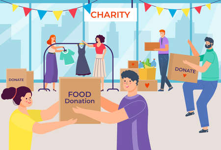 Inscription charity, people donate things and food, donation in box, social volunteers, design cartoon style vector illustration.