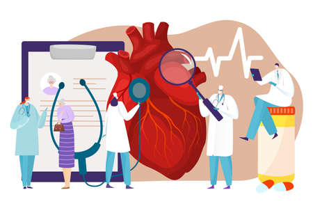 Human circulatory system, patient heart disease, medical research, cardiology department, tiny cartoon style vector illustration.