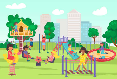 City playground in summer park, play time for children, joyful fun and games outdoors, design cartoon style vector illustration.  イラスト・ベクター素材