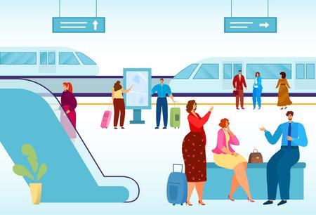 Modern city, public transport, high-speed train for comfortable travel, urban vehicle on rails, cartoon style vector illustration.