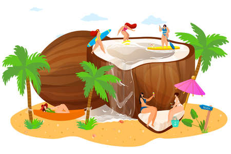 oconut with tiny people on beach, concept, summer vacation, trip for travel tropical vacation, cartoon style vector illustration.