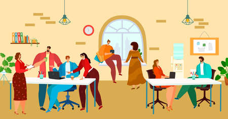 Coworking, office workspace, people work together in team, creative business process, design cartoon style vector illustration.  イラスト・ベクター素材