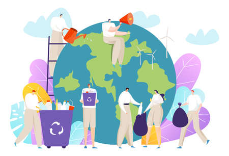 Eco volunteers concept, cleanse and save, planet, little people save environment, design cartoon style vector illustration.