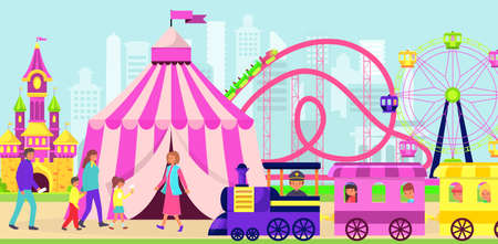 Family and kids spend time in amusement park, various entertainment, carnival in city, design cartoon style vector illustration.