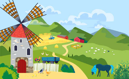 Farm with mill landscape in mountain area, ranche outdoors, village house on hill, design cartoon style vector illustration.