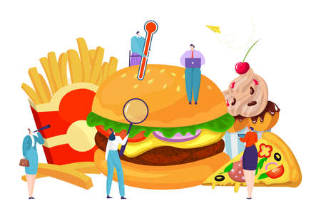 Fast food tiny people quality control, healthy lifestyle, enjoyable meal, cartoon style vector illustration, isolated on white.