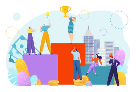 Financial business success, money growth concept, corporate progress, little people, design cartoon style vector illustration.