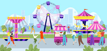 Happy people in amusement park, colorful entertainment festival, carnival holiday, design cartoon style vector illustration.