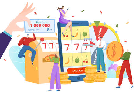 Gambling concept, casino hall, roulette jackpot, card poker game, winning one million dollars, cartoon style vector illustration.  イラスト・ベクター素材