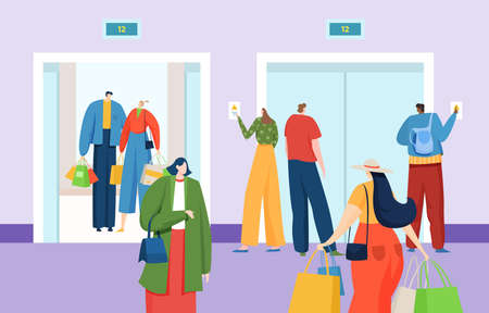Group people waiting for elevator, modern multi-storey building with high-speed elevator, cartoon style vector illustration.