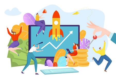 Startup an innovative project, teamwork employees, concept creative idea, business technology, cartoon style vector illustration.