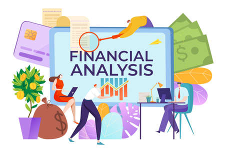 Financial consultant service, title on computer screen financial analysis, business management, cartoon style vector illustration.  イラスト・ベクター素材