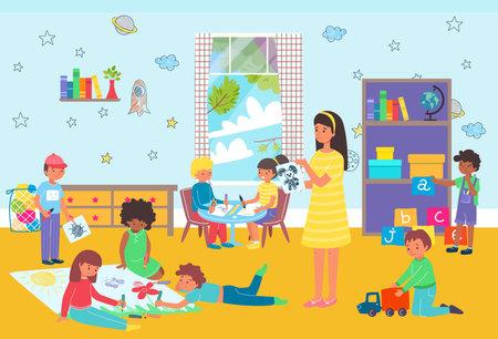 Kids playing kindergarten class, preschool education essential, bright room with toys, design cartoon style vector illustration.