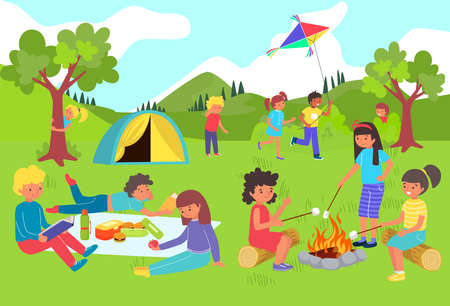 Kids have fun and play in summer camp, holidays outside city, happy girls and boys at picnic, cartoon style vector illustration.  イラスト・ベクター素材