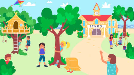 Kids play at school yard, happy childhood, useful activity, outdoor recreation, large playground, flat style vector illustration.