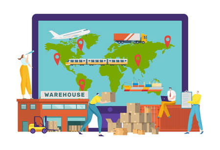 Logistics services, inscription on the warehouse building, transport company delivering cargo, cartoon style vector illustration.